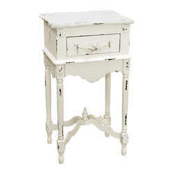 Sterling Industries - Sterling Industries White Milkpaint Side Table X-3081-98 - Distressed edges and intricate traditional detailing creates an illusion of great past on this Sterling Industries side table. The White Milk paint finish adds a light touch that perfectly compliments the turned knob work, slender legs and carved detailing. It also features a fully functioning drawer.