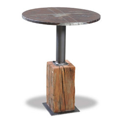 Design Samples - #Bistro #table crafted with #reclaimed #tin from and early 19th century barn and mounted on a #hand #hewn #beam.
