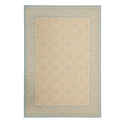 """Safavieh - Courtyard Brown/Blue Area Rug CY6107 - 4' x 5'7"""" - Safavieh takes classic beauty outside of the home with the launch of their Courtyard Collection. Made in Belgium with enhanced polypropylene for extra durability, these rugs are suitable for anywhere inside or outside of the house. To achieve more intricate and elaborate details in the designs, Safavieh used a specially-developed sisal weave."""