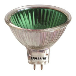 Bulbrite - Halogen Light Bulbs w Green Shade - 10 Bulbs - One pack of 10 Bulbs. 12V GU5.3 bi-pin base MR16 bulb type. Flood beam spread. Dimmable. Integrated colored cover glass. Lensed for UV protection. Ideal for residential and commercial applications. Most commonly used in art galleries, jewelry stores and salons. Perfect for landscape, pendants, down lights, recessed and track lighting applications. Average hours: 2000. Color rendering index: 100. Wattage: 50 watt. Lumens: 900 CP. Maximum overall length: 1.87 in.