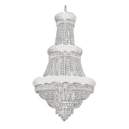 "The Gallery - FRENCH EMPIRE CRYSTAL CHANDELIER LIGHTING H50"" X W30"" - 100% CRYSTAL CHANDELIER, this chandelier is characteristic of the grand chandeliers which decorated the finest Chateaux and Palaces across Europe and reflects a time of class and elegance which is sure to lend a special atmosphere in every home. This item comes with 18 inches of chain. Lightbulbs not included.Assembly Required."