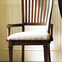 Hooker Furniture - Abbott Place Slat Back Arm Chair - Set of 2 i - Set of 2. Upholstered seat. Tapered legs. Four tack in floor glides. Made from hardwood solids and cherry veneers. Seat height: 19.5 in.. Overall: 24 in. W x 23.5 in. D x 42 in. H. Assembly InstructionsAbbott Place takes a fresh spin on traditional styling for a look that blends the best of classic American influences with updated design. Offering a broad piece assortment for every room in your home. Concave shaping on the case pieces creates energy and movement. Smart design of good taste for style flavors ranging from new American mix to casual transitional.