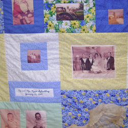 Memory Quilt, Blue and White w. Vintage Dress - Marcia Moore