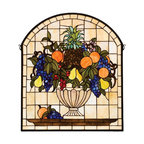 Meyda Tiffany - Fruitbowl Window Panel - Includes mounting bracket and jack chain. Victorian art glass theme. Handcrafted of stained art glass utilizing the copperfoil construction. Encased in solid brass frame. 25 in. W x 29 in. H. Care InstructionsA cornerstone beige background frames a bowl brimming with delectable concord blue and purple grapes, oranges, cerise cherries, golden pears and an amber pineapple nestled in garden green leaves.