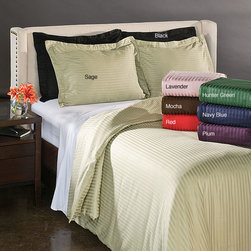 None - Egyptian Cotton 300 Thread Count Stripe 3-piece Duvet Cover Set - This cotton striped duvet cover is made from 100 percent Egyptian cotton and has a subtle striped pattern woven into the design. This machine washable 300-thread-count duvet has a silky feel and will provide timeless style to any bedroom.