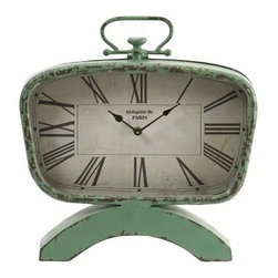 Retro Clock - All the fun of a perfect flea market find without the flea market. Friends will want to know where you got the Retro Clock. Full of vintage charm, the durable iron case is finished in a distressed pistachio for a truly authentic retro look. The perfect piece for any space, you'll check the time just to check it out.About IMAXWhat began as a small company importing copper flower containers in 1984 by Al and Faye Bulak has developed into one of the top U.S. import companies serving the At Home market today. IMAX now provides home and garden accessories imported from twelve countries around the world, housed in a 500,000 square foot distribution center. Additional sourcing, product development and showroom facilities in the USA, India and China make IMAX a true global source. They're dedicated to providing products designed to meet your needs. This is achieved through a design and product development team that pushes creativity, taste and fashion trends - layering styles, periods, textures, and regions of the world - to create a visually delightful and meaningful environment. At IMAX, they believe style, integrity, and great design can make living easier.