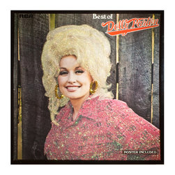 "Glittered Dolly Parton Best of (poster Included) Album - Glittered record album. Album is framed in a black 12x12"" square frame with front and back cover and clips holding the record in place on the back. Album covers are original vintage covers."