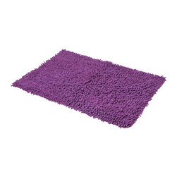 Shaggy Loop Bath Rug Purple - This shaggy loop bath rug is 100% cotton. Thick fabric and ultra-soft touch, it will add a luxurious and contemporary style to your bathroom. Lush, deep, and inviting, you can luxuriously sink your toes into it! Machine wash cold and no dryer. Manufacturer recommends using a nonskid pad beneath the rug (not included). Indoor use only. Width 17-Inch and length 29.5-Inch. Color purple. This shaggy rug delivers a sparkly, lustrous look that instantly updates your bathroom decor. Imported.
