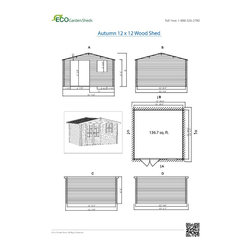 Autumn 12 x 12 Wood Shed - ECO Garden Sheds. All natural wood 12 x 12 Traditional wooden garden house / storage shed -- Autumn. 12 x 12 Wood Shed Blueprint.