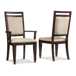 Hooker Furniture - Hooker Furniture Set of 2 Ludlow Upholstered Back Arm Chair 1030-76500 - With a metropolitan and modern attitude, Ludlow is distinguished by an intriguing walnut veneer story and hip fretwork detail.