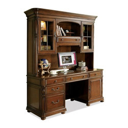 Riverside Furniture - Bristol Court Computer Credenza with Hutch - Credenza with drop-front knee drawer with 2-outlet power bar.