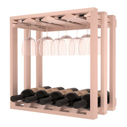 Wine Storage Lattice Stemware Cube in Redwood with White Wash Stain + Satin Fini - Designed to stack one on top of the other for space-saving wine storage our stacking cubes are ideal for an expanding collection. Use as a stand alone rack in your kitchen or living space or pair with the 20 Bottle X-Cube Wine Rack and/or the 16-Bottle Cubicle Rack for flexible storage.
