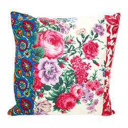 Acapillow - Floral Patchwork Pillow - An eclectic mix of bright vintage floral fabrics gives this pillow a fun, bohemian flair for your couch or bed. The florals are repurposed from charming sources like 1940s feed sack calico and antique French fabrics.