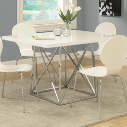 Monarch - White Glossy/Chrome Metal 36in. x 48in. Dining Table - Create a trendy contemporary look with this glossy white 36 in. x 48 in. diameter dining table. This piece features a sleek chrome metal base and a smooth surface ideal for dining, drinks and tapas. This table is great for dining and entertaining guests especially in smaller spaces.