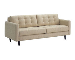 Apt2B - Beverly Sofa, Straw, 87x38x34 - Hip, hipster, hooray! With its reinvented classic design and stylish retro details, this is one smart-looking sofa. The boxy shape is balanced by sleek lines and tapered wooden legs for a lighter look, while the upholstery is textured and button tufted for some old-fashioned masculine class.
