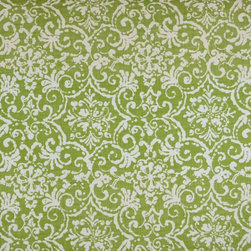 Kauf - Print Affair Celery Basket Weave Green Print Fabric By The Yard - Print Affair in the color Celery is a green basket weave fabric. Great scroll semi floral print for any applications such as upholstery and window treatments.