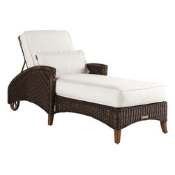 Lexington - Tommy Bahama Island Estate Lanai Chaise - The closest thing to an outdoor bedroom is assuredly the chaise lounge with 5 recline positions to provide proper support for reading, watching the children poolside, taking in the sun, or enjoying a nap. The 28x12 inch kidney pillow aids your comfort too.