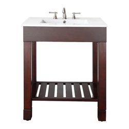 """Avanity - LOFT 30"""" Vanity Only (Dark Walnut) - LOFT 30"""" Vanity Only (Dark Walnut); Vanity only in dark walnut finish; Birch solid wood and birch veneer; Stainless steel towel bars; Open slatted shelf; Adjustable height levelers; Top, sink and faucet not included.; Dimensions: 30W x 21.5D x 34H inches"""