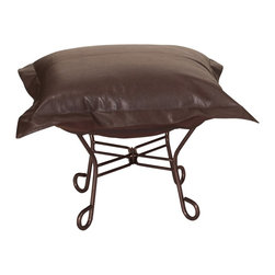 Avanti Scroll Puff Ottoman - Mahogany Frame - Nouveau Riche! The Avanti Puff Chair is the latest and the greatest addition to the Puff Chair line. Add a touch of urban sophistication to any decor with its paneled design and supple leather look and feel, without the expense of owning real leather.