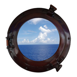 Handcrafted Nautical Decor - Deluxe Class Antique Copper Porthole Window 12'' - This Deluxe Class Antique Copper   Porthole Window 12''   adds sophistication, style, and charm for those      looking to   enhance       rooms with a nautical theme. This boat     porthole  has a   sturdy,  heavy and      authentic appearance, and is     made from glass which can easily be hung to grace any  nautical    theme wall.  This antiqued copper   porthole window     makes  a  fabulous style   statement in any room  with    its classic  round       frame, six   metal-like rivets and two  dog  ears.   This marine   porthole window has an 8'diameter and 3'deep when dog-ears are   attached, 1.5'' deep   without dog ears   attached.----Dimensions: 12'Long x 3'Wide x 12'High--NOTE: Mounting hardware not included with purchase----    Functional porthole window that will reflect the light in any space--    --    Handcrafted from solid brass and hand-painted antiqued copper  by our master artisans--    Decorative yet fully functional port hole window decor--    Realistic nautical decor - modeled after an antique 19th-century ship's porthole--    --    Great porthole wall decor and an instant conversation piece--