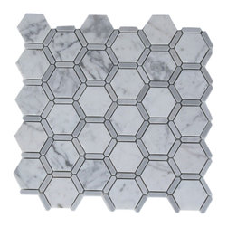 """Florentine White Carrera With Light Bardiglio Line - FLORENTINE WHITE CARRERA WITH LIGHT BARDIGLIO LINE 2"""" HEXAGON 1 1/4"""" X 1/3"""" LINES Each piece of this stone tile fits into the next like a perfect puzzle. Its stunning design and unique pattern of honeycomb will bring warmth and a natural ambience to your home. A stone backsplash will not only make your wall more attractive but also help protect it from damage caused by water or grease spatters.The mesh backing not only simplifies installation, it also allows the tiles to be separated which adds to their design flexibility. Chip Size: 2"""" Line: 1 1/4"""" x 1/3"""" Color: White Carrera and Light Bardiglio Material: Carrera and Bardiglio Stone Finish: Polish Sold by the Sheet - each sheet measures 12"""" x 12"""" (1 sq. ft.); 6 rows per sheet Thickness: 3/8"""""""