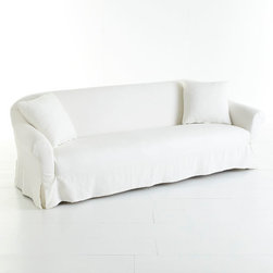 Extra-Long Slipcover Sofa - We call it the extra-long sofa but you may end up calling it the perfect napping spot. It's built long so it has plenty of wiggle room for your guests (and added leg room for a Sunday nap). Constructed of gum tree and poplar wood, the frame is nice and sturdy. Plus, the polyfill is made from recycled plastics and the springs are all made from reusable materials, so you're doing something good for the environment. A 100% linen slipcover means easy cleaning and an easy refresh if you desire a different look!