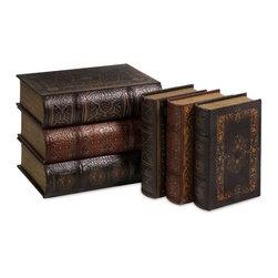 iMax - Cassiodorus Book Box Collection, Set of 6 - Faux leather detailed Cassiodorus book box collection.