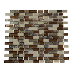 "Brick Pattern Leather Boot Brown Blend Random Marble & Glass T - SAMPLE- BRICK PATTERN LEATHER BOOT BROWN BLEND 1/2"" X 2"" GLASS TILE 1/4 SHEET SAMPLE BRICK PATTERN You are purchasing a 1/4 sheet sample measuring approximately 6"" x 6"". INSTANTLY UPGRADE to priority shipping when2 or more samples are purchased. Samples are intended for color comparison purposes, not installation purposes.-Glass Tiles -"
