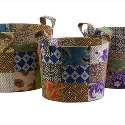 """Imax Worldwide Home - Sidonie Batik Basket - Set of 3 - Unused fabric remnants from local artisans of Indonesia are quilted together to create the pattern of this set of three Sidonie batik baskets.; Country of Origin: Indonesia; Weight: 3.316 lbs; Dimensions: 12.25-13-14""""h x 13-14.75-16.25""""d"""
