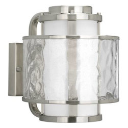 """Progress Lighting - Progress Lighting P5849-09 Bay Court 8-3/4"""" 1 Light Outdoor Wall Lantern in Brus - A dual shade outdoor wall lantern features an etched opal glass inner shade and a clear seedy glass outer shade.ADA Compliant: No Bulb Included: No Bulb Type: Incandescent Collection: Bay Court DarkSky: No Depth: 10-3 8 Finish: Brushed Nickel Glass: Etched Opal clear seedy Height: 10-1 4 Height to Center: 5-1 2 Light Direction: Ambient Lighting LowVoltage: No Motion Sensor: No Number of Lights: 1 Photocell: No Shade: Etched Opal Clear Seedy Shade Material: Glass Shade Shape: Cylinder Socket 1 Base: Medium Socket 1 Max Wattage: 100 Socket base: Medium Solar: No Style: Transitional Suggested Room Fit: Outdoor Title 22: No Title 24: No Wattage: 100 Weight: 12 Width: 8-3 4"""