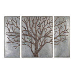 Uttermost - Winter View Rustic Tree Mirrors, Set of 3 - Rustic brown tree design with gold highlights and a lightly antiqued silver leaf background. Sizes: Center-30x40x2, Sides(2)-15x40x2