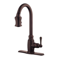 "Danze - Danze D454557RB Kitchen Pull-Down Oil Rubbed Bronze - Danze D454557RB Oil Rubbed Bronze Single Handle Pull-Down Kitchen Faucet is part of the Opulence Kitchen collection.  D454557RB Single hole mount Pull-Down Kitchen Faucet has a 7 1/2"" long and 17 3/4"" high spout, with 2 function spray/aerated stream.  Optional deck plate included.  D454557RB Single lever handle meets all requirements of ADA.  California and Vermont compliant."