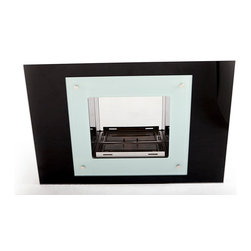 """EcoPyro ART-100 Cascade Wall Inserted Ethanol Large Fireplace 39 5/8"""" Wide, Glas - Black and white glass combine with reflective interior panels to create Cascade, a reflective masterpiece. Imagine this clean burning, artistic fireplace, recessed into your wall. Is it wall art or a functioning fireplace? The body of Cascade features extensive use of glass. The entire black back panel is glossy black 3/8″ thick tempered glass. An additional decorative panel of frosted white glass is held on by low profile stainless steel caps. Reflective of the white/black opposites in color the outside corners of the frosted white glass come to square points while the inside corners are rounded. It overlays the black adding a stunning layered panel appearance to the design. The interior chamber consists of steel which has been highly polished to a mirror reflective finish. The 1.5 liter burner features a sliding top panel that conceals the contents when not in use. Cascade is an eco friendly authentic home fireplace that inserts into the wall without the maintenance cost and hassle of traditional options."""