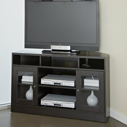"""Jesper Office - Corner 47"""" TV Stand - Features: -Glass doors.-European design.-Shelf for soundbar.-Wire management.-Ventilation in shelves.-Commercial grade hardware.-Contemporary design.-Non scratch surface.-Distressed: No.-Powder Coated Finish: No.-Gloss Finish: No.-Material: Manufactured Wood.-Solid Wood Construction: No.-Exterior Shelves: Yes -Number of Exterior Shelves: 3.-Adjustable Exterior Shelves: No..-Drawers: No.-Cabinets: Yes -Number of Cabinets: 2.-Number of Doors: 2.-Door Attachment Detail: Hinges.-Interchangeable Panels: No.-Cabinet Handle Design: Knobs.-Number of Interior Shelves: 2.-Adjustable Interior Shelves: Yes..-Scratch Resistant : Yes.-Casters: No.-Accommodates Fireplace: No.-Fireplace Included: No.-Media Player Storage: Yes.-Media Storage: No.-Remote Control Included: No.-Batteries Required: No.-Swatch Available: No.-Lift Mechanism: No.-Expandable: No.-TV Swivel Base: No.-Integrated Flat Screen Mount: No.Dimensions: -Overall Product Weight: 90.-Overall Height - Top to Bottom: 29.-Overall Width - Side to Side: 47.-Overall Depth - Front to Back: 22.-Shelving: Yes.-Cabinet: Yes.-Legs: No.Assembly: -Assembly Required: Yes.Warranty: -5 year warranty.-Product Warranty: 5 Years."""
