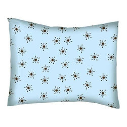 SheetWorld - SheetWorld Crib / Toddler Percale Baby Pillow Case - Brown Snowflake Blue Woven - Baby or Toddler pillow case. Made of an all cotton percale fabric. Opening is in the back center and is envelope style for a secure closure.