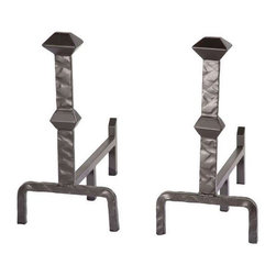 Stone County Ironworks - Forest Hill Iron Andirons - Set of 2 (Gunmetal) - Finish: Gunmetal. Set of two. Andirons leave enough room above the front stand to load the wood. Lifts the logs off the bottom of the fire pit to allow the embers to burn hot. Rugged enough to take the heat. Not cast so won't break or become brittle with the heat. 9.5 in. L x 16 in. W x 19 in. H (24 lbs.)The beautifully crafted andirons make the fireplace! Not only do they look great, but they help keep your fireplace logs from rolling out. These andirons will pass to your great grandchildren!