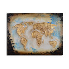 Golden globe Hand Painted Canvas Art - Use this original piece of artwork to give your space a global perspective. The stylized map of the world is rendered in a bold contemporary style that will sit well in your modern interiors. It's painted by hand for one-of-a-kind character.