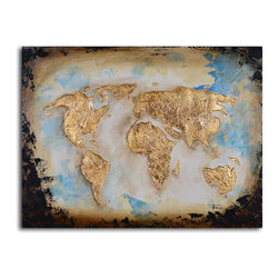 Golden Globe Hand-Painted Canvas Art - Use this original piece of artwork to give your space a global perspective. The stylized map of the world is rendered in a bold contemporary style that will sit well in your modern interiors. It's painted by hand for one-of-a-kind character.