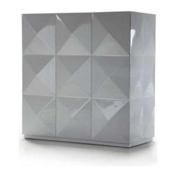 Bestsellers - Eva - White Lacquer Square 3 Door Cabinet by VIG Furniture