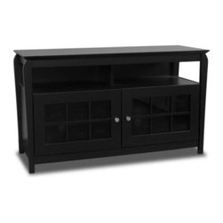 "Tech Craft - Veneto 48-Inch LCD TV Cabinet in Black Finish - Your home theater has just found a home. Generously proportioned for oversized storage and display, this unit features a pair of glass pane doors and a divided upper shelf. Beveled edge, hardwood construction provides stylish lines and exceptional durability. 48 in. Wide black ""Hi-Boy"" fits most 50 in. and smaller flat panels. 28 in. Height makes it perfect for living room or bedroom setting. Wide walnut wood veneer finish ""Hi-Boy"" fits most 50 in. and smaller TV stands. Convenient component slots holds 2 or more components. Beautiful framed doors for concealed storage. Ample room for wire management. 48.25 in. W x 20 in. D x 28.12 in. H"
