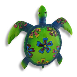 Zeckos - Large Brightly Colored Sea Turtle Wall Hanging Hand Painted - This wonderful metal wall hanging features a brightly painted green, blue, yellow and red sea turtle with black marble eyes. He measures 20 1/2 inches from head to tail, 21 3/4 inches wide from the tips of the flippers. He'll add a splash of color to any room, and makes a great gift for turtle lovers.