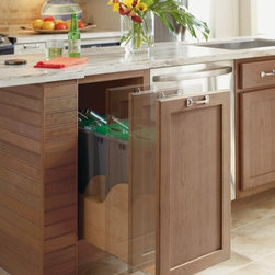 "Omega Hands-Free Kitchen Cabinet - The Omega Cabinetry electronic-assisted Hands-Free Trash and Recycling cabinet was featured in the May issue of Kitchen & Bath Design News and online at ForResidentialPros.com as part of a product review on ""Accessible Products"" and ""Sensible Style."""