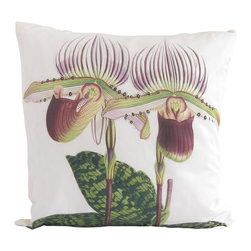 Poetic Pillow - Orchid Paphiopedilum lawrenceanum Pillow - ROBERT WARNER (1814-1896), BENJAMIN SAMUEL WILLIAMS (1822-1890) AND THOMAS MOORE (1821-1887)