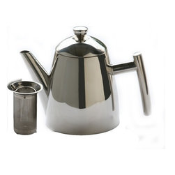 Frieling - Primo Teapot With Infuser, Mirror Finish, 22 oz. - Teapot includes a 100% stainless steel tea infuser to brew that perfect cup: The infuser is generously sized so that the tea leaves have room to expand. Thanks to a high-tech manufacturing process, the infuser's micro-etched design allows for perfect flavor release while holding back sediment. This is not your Grandma's mesh filter anymore! No residue build- up, it's easy to clean, and dishwasher safe.