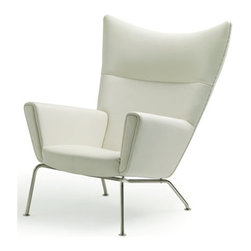 Nuevo Living - Jakob Lounge Chair in White Leather by Nuevo - HGEM239 - The Jakob lounge chair in white leather features real leather and CFS foam padding.  The Jakob also has a wooden frame and brushed stainless steel legs.