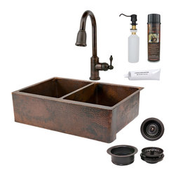 "Premier Copper Products - 33"" Kitchen Apron 50/50 Sink w/ ORB Faucet - PACKAGE INCLUDES:"