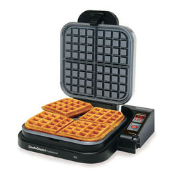 "Chef'sChoice - Chef's Choice Belgian WafflePro 850 - This family size, commercial quality Belgian waffle maker is in a class by itself. In just 90-120 seconds you can bake 4 delicious deep pocket, restaurant-thick Belgian waffles. The breakthrough QuadPlus baking system lets you independently adjust baking time and temperature for truly customized waffles...fast bake for a crispy exterior and soft, oven fresh interior or slow bake for a crunchy, uniform texture. The specially engineered waffle plate design guarantees optimal batter distribution and even baking so there's no need to flip. The Belgian WafflePro offers a high quality, non-stick griddle surface, a waffle ready beeper, ultra-quick temperature recovery for continuous baking, an easy-clean overflow channel and a built-in cord storage compartment. Convenient features such as the automatic countdown timer, Sleep-Mode and fast heat-up, quick recovery allow you to effortlessly bake and then ""take a break"" so you can sample your taste sensations! Recipes are included. One-year limited warranty."