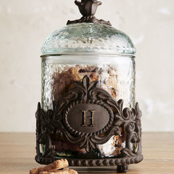 GG Collection Personalized Pet Treats Jar - I love this European-inspired personalized dog treat jar. The textured glass and iron scrollwork make it a beautiful piece for any home.