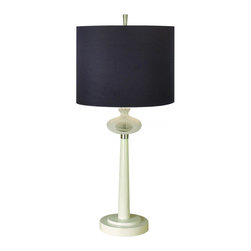 Joshua Marshal - One Light Onyx Sheen Shade White Lacquer Ice Deco Glass Table Lamp - One Light Onyx Sheen Shade White Lacquer Ice Deco Glass Table Lamp
