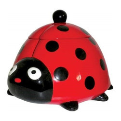 Westland - Red and Black Surprised Ladybug Ceramic Cookie Jar - This gorgeous Red and Black Surprised Ladybug Ceramic Cookie Jar has the finest details and highest quality you will find anywhere! Red and Black Surprised Ladybug Ceramic Cookie Jar is truly remarkable.